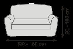 Veľkosť gauča pro napínacie poťahy